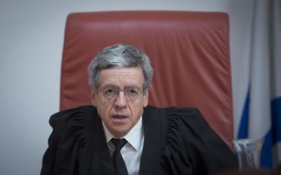 Supreme Court judge Menachem (Meni) Mazuz, seen at the hearing of Israeli businessman Jacky ben Zaken's appeal on manipulating the share price of Financial Levers,  July 14, 2016. Photo by Flash90