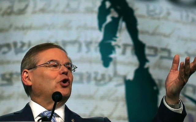Sen. Robert Menendez of New Jersey addresses the AIPAC annual policy conference in Washington, DC, March 5, 2013. (Mark Wilson/Getty Images via JTA)
