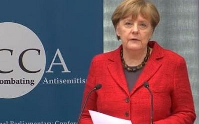 German Chancellor Angela Merkel speaks in front of the Inter-parliamentary Coalition for Combating Antisemitism on March 14, 2016. (Screen capture/YouTube)