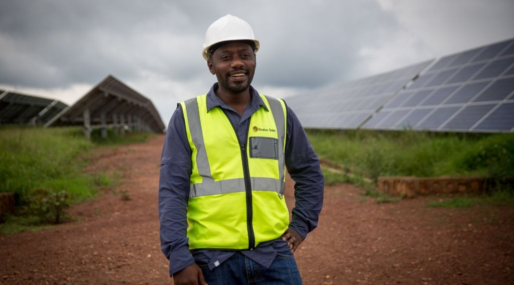 Twaha Twagirimana, the director of the solar field in eastern Rwanda, which is now operated by the Norwegian company Scatec, on February 17, 2017. (Miriam Alster/Flash90)
