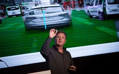 Ziv Aviram, President and CEO of Mobileye, speaks at a conference at the Waldorf Astoria hotel in Jerusalem, November 23, 2016. (Miriam Alster/Flash90)