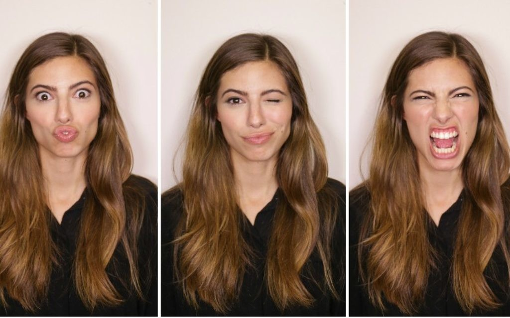 The many faces of Canadian-Israeli model Renny Grinshpan, who has become a comedic sensation in Israel. (Courtesy of Grinshpan via JTA)