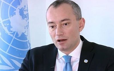 UN Special Coordinator for the Middle East Peace Process Nickolay Mladenov is interviewed on i24NEWS on February 21, 2017. (Screen capture/YouTube)