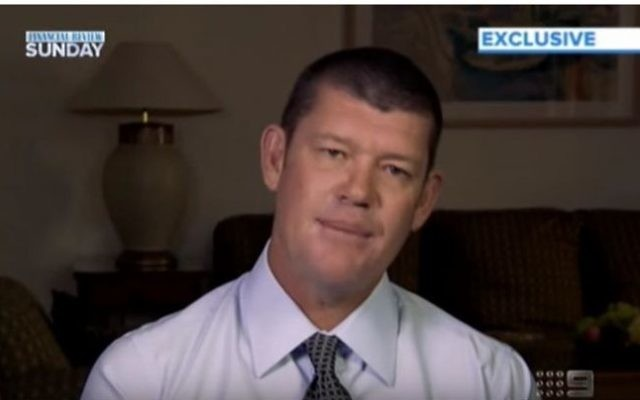 Australian businessman James Packer speaks to the Financial Review Sunday TV show from Tel Aviv on June 6, 2013.  (screen capture: YouTube)
