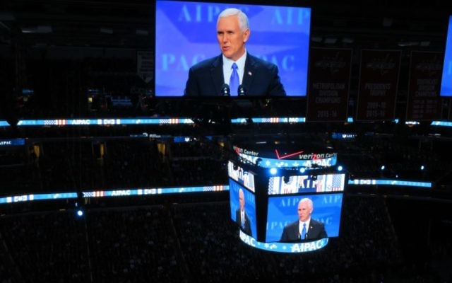 Vice President Mike Pence speaks at AIPAC's annual Policy Conference on March 26, 2017 at the Verizon Center in Washington, DC (Ron Kampeas/JTA)