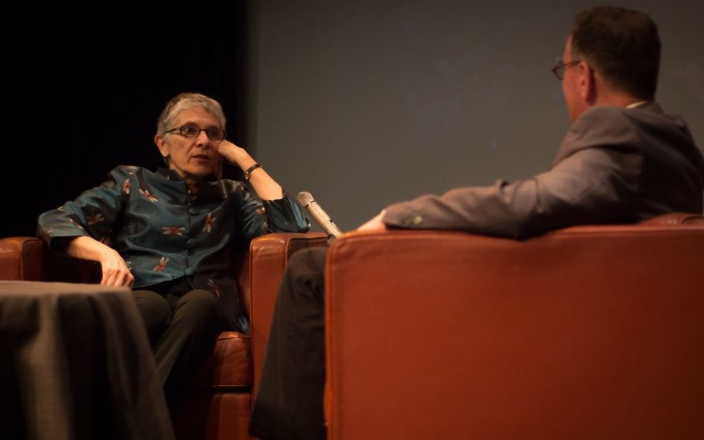 Melanie Phillips is interviewed by Matthew Kalman at a Times of Israel event in Jerusalem, March 26, 2017. (Luke Tress/Times of Israel)