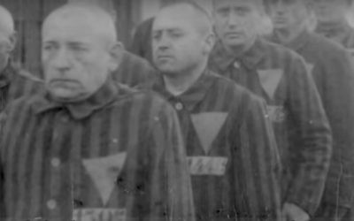 Gay men compelled by the Nazis to wear downwards-pointing pink triangles. (YouTube screenshot)