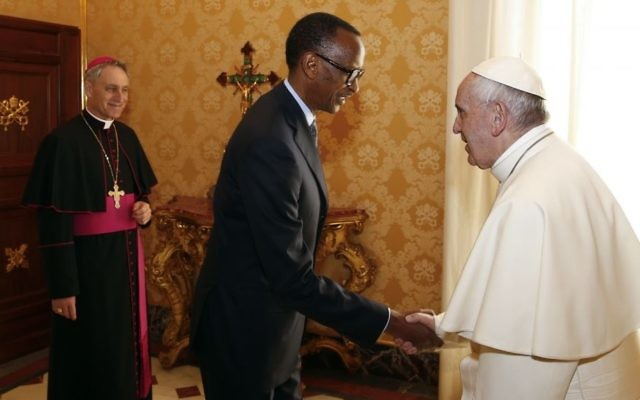 Pope Francis welcomes Rwanda's President Paul Kagame during a private audience at the Vatican, March 20, 2017. (Tony Gentile/Pool photo via AP)