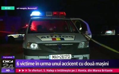 Romanian police respond to the scene of a car crash that killed two Israeli students just outside the capital city of Bucharest on March 28, 2017. (screen capture: YouTube)