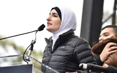 Linda Sarsour speaking onstage during the Women's March on Washington in Washington, D.C, Jan. 21, 2017. (Theo Wargo/Getty Images)
