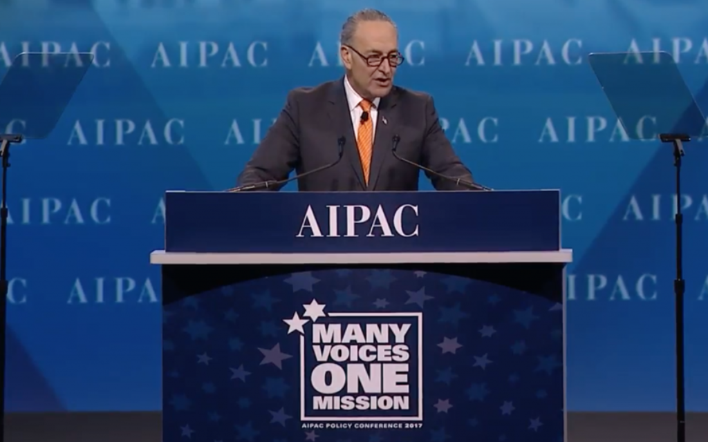 Senate Minority Leader Chuck Schumer, a Democrat from New York, speaks at AIPAC's 2017 Policy Conference at the Washington Convention Center on March 28, 2017 (screen capture)