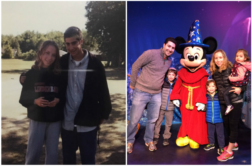 Shlomie and Dalia Yunger at camp and with their family. (Courtesy of Dalia Yunger/via JTA)