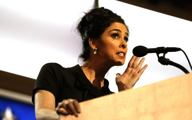 Sarah Silverman speaking on the opening day of the Democratic National Convention in Philadelphia, July 25, 2016. (Joe Raedle/Getty Images via JTA)