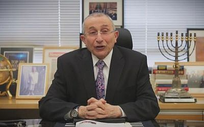Rabbi Marvin Hier, Founder and Dean of the Simon Wiesenthal Center, delivers a 2016 Rosh Hashana message. (Screen capture/YouTube)