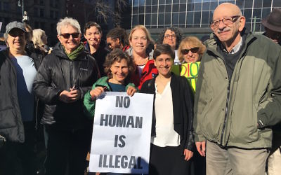 Congregants of Bnai Jeshurun in New York City rally on behalf of immigrants Thursday, Mar. 9, 2017. Bnai Jeshurun is one of several synagogues more assertively embracing activism since Donald Trump's election. (Courtesy of Bnai Jeshurun)