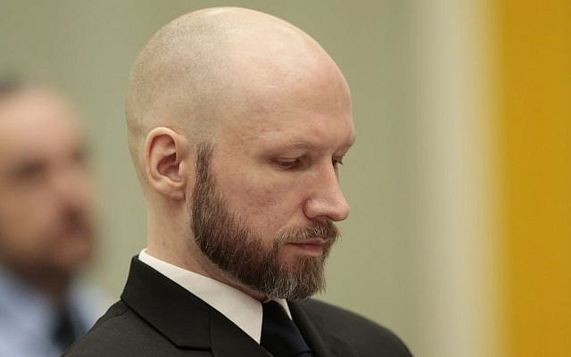 A Thursday Jan. 12, 2017 photo from files showing Anders Behring Breivik, as he sits in court on the third day of the appeal case in Borgarting Court of Appeal at Telemark prison in Skien, Norway.  (Lise Aaserud /NTB Scanpix via AP)