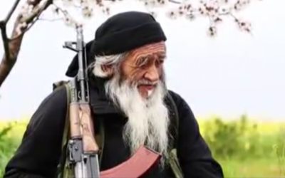A Uighur man fighting with the Islamic State terror group in Syria. (Screen capture: International Business Times)