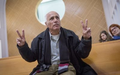 Mordechai Vanunu seen at a Jerusalem Supreme Court hearing on January 30, 2017. (Miriam Alster/Flash90)