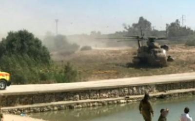 Scene of the accidental drowning death of Ilan Yankilevich, near Kibbutz Kissufim in southern Israel, on July 27, 2016. (Screen capture: Channel 10)