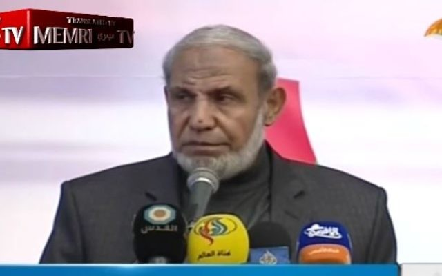 Senior Hamas official Mahmoud Zahar speaks on the movement's Al-Aqsa TV on March 8, 2017. (Screen shot/MEMRI)