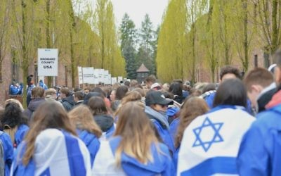 Youths take part in the March of the Living at the Auschwitz death camp in Poland on April 24, 2017. (Yossi Zeliger/March of the Living)