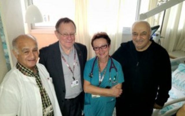 Azerbaijani Deputy Prime Minister Adib Sharifov (R) at Rambam Medical Center in Haifa. (Rambam Medical Center spokesperson)