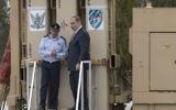 Prime Minister Benjamin Netanyahu (R) and IAF commander Major General, Amir Eshel at the unveiling of the David's Sling missile defense system at the Hatzor Air Force base on April 2, 2017. (AFP Photo/Jack Guez)