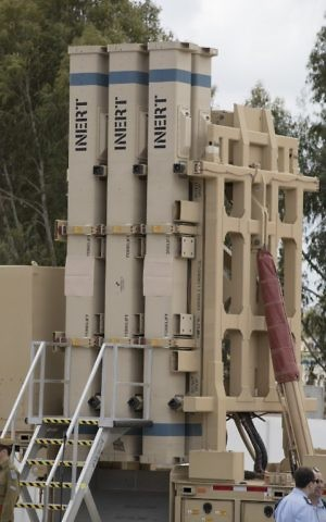 The David's Sling missile defense system is seen during a ceremony to announce its operational capacity at the Hatzor Air Force base on April 2, 2017. (AFP Photo/Jack Guez)