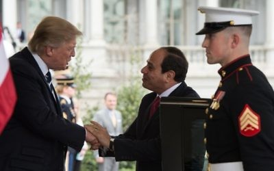 US President Donald Trump (L) greets his Egyptian counterpart Abdel Fattah el-Sissi at the White House in Washington, DC, April 3, 2017. (AFP/Nicholas Kamm)