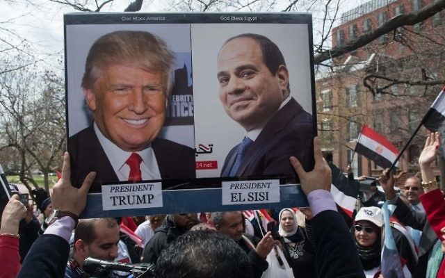 Supporters of Egyptian President Abdel Fattah el-Sissi chant slogans as Sissi meets with US President Donald Trump at the White House on April 3, 2017. (AFP Photo/Nicholas Kamm)