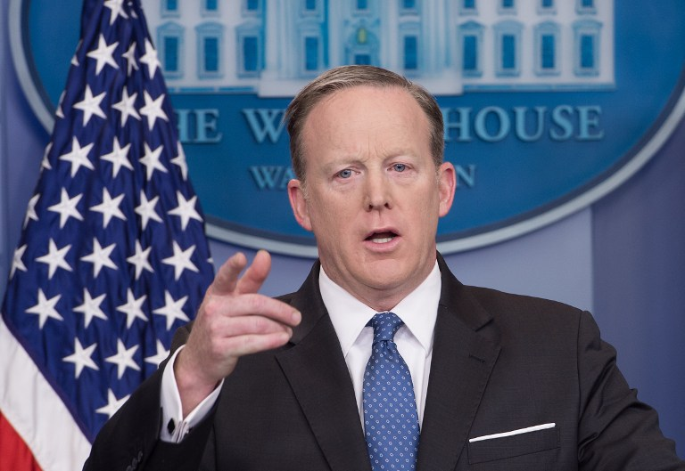 White House Spokesman Sean Spicer speaks during the daily press briefing at the White House in Washington, DC, April 3, 2017. (AFP/Nicholas Kamm)