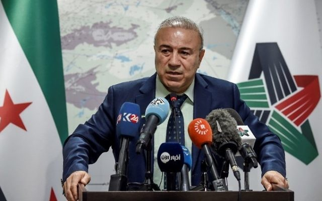 The day after a suspected chemical weapons attack  killed at least 72 in a rebel-held town in Syria, Vice President of the Syrian national coalition Abdul Hakim Bashar gives a press conference in Istanbul, April 5, 2017. (AFP/OZAN KOSE)