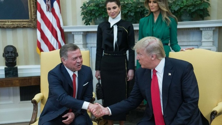 new concept f6769 d32b9 US President Donald Trump (R) shakes hands with King Abdullah II of Jordan  in