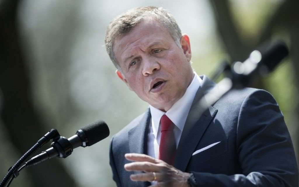 File: Jordan's King Abdullah II speaks during a press conference with US President Donald Trump in the Rose Garden at the White House on April 5, 2017. (AFP Photo/Brendan Smialowski)