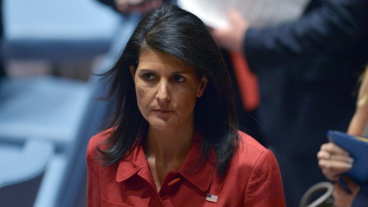 US Ambassador to UN and current UN security council president, Nikki Haley leaves after presiding a United Nations Security Council meeting on Syria, at the UN headquarters in New York on April 7, 2017. (AFP/Jewel Samad)