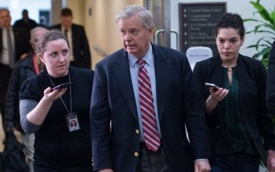 US Republican Senator from South Carolina Lindsey Graham speaks to reporters after a closed briefing by Joint Chiefs of Staff Gen. Joseph Dunford at the Capitol in Washington, DC, on April 7, 2017. (AFP Photo/Nicholas Kamm)