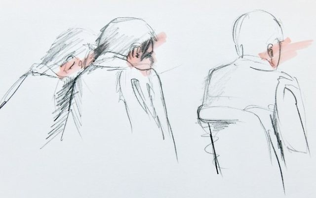 An artist's impression made and released on April 11, 2017, shows Uzbek national Rakhmat Akilov (C) together with his defense counsel during his remand hearing in the Stockholm District Court. (AFP Photo/TT News Agency/Johan Hallnas)