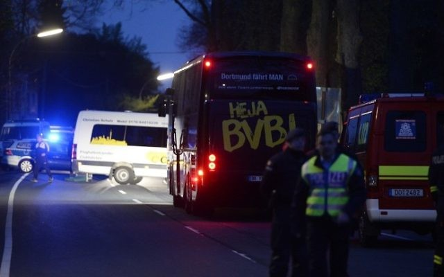 The bus of Borussia Dortmund was damaged by explosion some 10km away from the stadium prior to the UEFA Champions League 1st leg quarter-final football match BVB Borussia Dortmund v Monaco in Dortmund, western Germany on April 11, 2017. (AFP PHOTO / Sascha Schuermann)