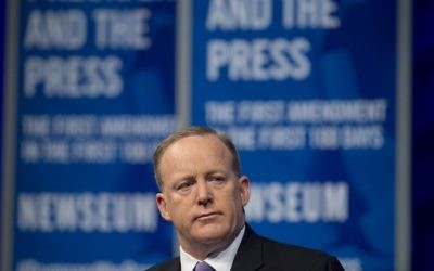 Then-White House press secretary Sean Spicer speaks during a forum at the Newseum in Washington, DC, April 12, 2017. (AFP Photo/Saul Loeb)