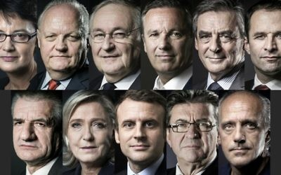 This combination of file pictures created on April 13, 2017 shows the eleven candidates approved to run for French president as announced by the Constitutional Council on March 18. From Top L to bottom R arranged in alphabetical order : far-left Lutte Ouvriere (LO) party Nathalie Arthaud, Popular Republican Union (UPR) party Francois Asselineau, Solidarite et Progres (Solidarity and Progress) party Jacques Cheminade, right-wing Debout la France (DLF) party Nicolas Dupont-Aignan, right-wing Les Republicains (LR) party Francois Fillon, left-wing French Socialist (PS) party Benoit Hamon, independent candidate Jean Lassalle, far-right Front National (FN) party Marine Le Pen, En Marche ! movement Emmanuel Macron, far-left coalition La France insoumise Jean-Luc Melenchon and far-left New Anticapitalist Party (NPA) Philippe Poutou. (AFP PHOTO / JOEL SAGET AND Eric FEFERBERG)