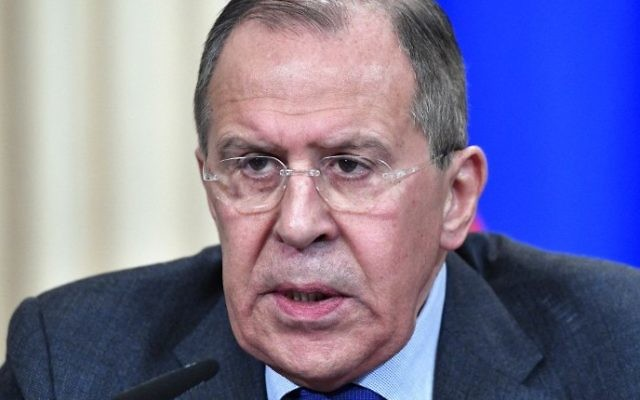 Russian Foreign Minister Sergei Lavrov speaks during a joint press conference after talks with his Russian and Syrian counterparts in Moscow on April 14, 2017 (AFP PHOTO / Alexander NEMENOV)