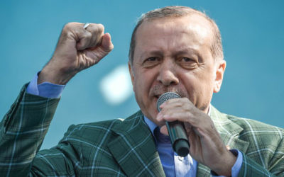 Turkish President Recep Tayyip Erdogan gestures as he delivers a speech during a campaign rally on the eve of the constitutional referendum, on April 15, 2017 in Istanbul. (Ozan Kose/AFP)