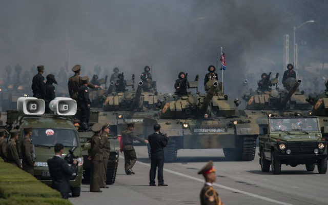 Korean People's Army (KPA) tanks are displayed during a military parade marking the 105th anniversary of the birth of late North Korean leader Kim Il-Sung, in Pyongyang on April 15, 2017. (Ed Jones/AFP)