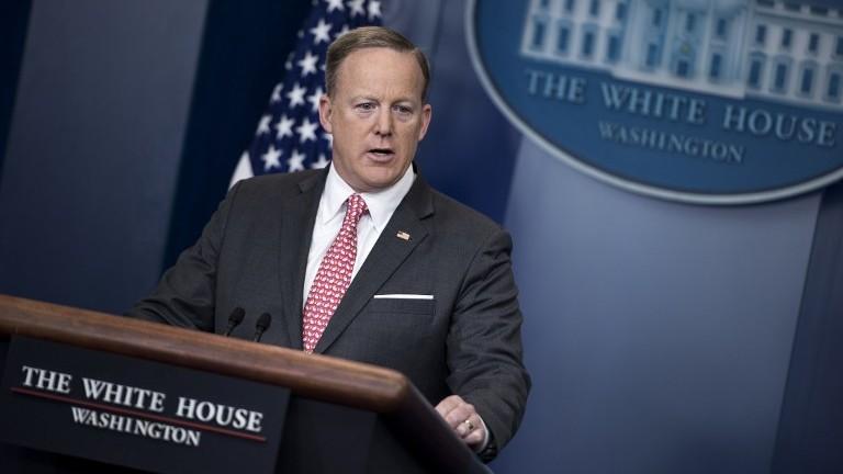 White House Press Secretary Sean Spicer speaks during a briefing at the White House April 17, 2017 in Washington, DC. (AFP Photo/Brendan Smialowski)
