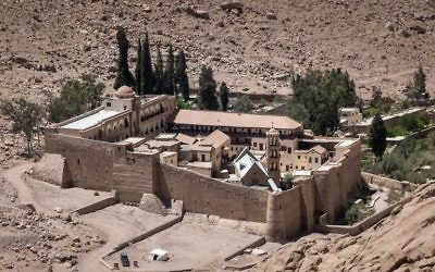 A picture taken on April 16, 2017 shows a general view of the Monastery of St. Catherine in Egypt's south Sinai, where a policeman was killed and three others wounded on April 18, 2017 when gunmen opened fire on a checkpoint near the monastery, the interior ministry said, in an attack claimed by Islamic State jihadists. (AFP/Pedro Costa Gomes)