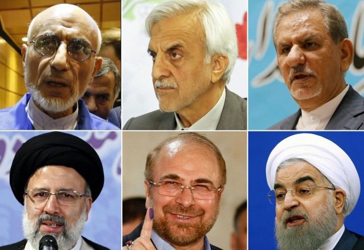 The contenders for Iran's upcoming presidential elections: (top L-R) Head of the Islamic Coalition Party's Central Council Mostafa Mirsalim; former minister Mostafa Hashemitaba; Iran's first Vice-President, Eshaq Jahangiri; (bottom L-R) cleric, Ebrahim Raisi; Mohammad Bagher Ghalibaf, Mayor of Tehran, and President Hassan Rouhani. (AFP/Atta Kenare)