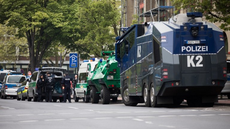 Police armored vehicles and water cannons in parked in front of the Maritim Hotel in Cologne, where the congress of Germany's right-wing populist Alternative for Germany (AfD) party is set to be held. April 21, 2017. (AFP Photo/dpa/Rolf Vennenbernd)