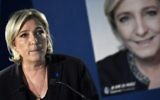 French presidential election candidate for the far-right National Front party Marine Le Pen speaks during a press conference at her campaign headquarters in Paris, April 21, 2017. (AFP/Lionel Bonaventure)