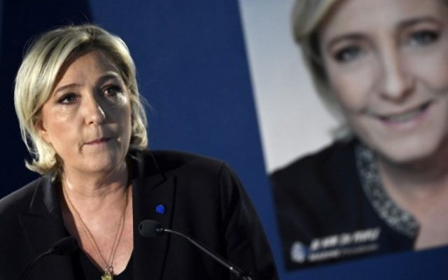 French presidential election candidate for the far-right Front National (FN) party Marine Le Pen at a press conference at her campaign headquarters in Paris, April 21, 2017. (AFP Photo/Lionel Bonaventure)