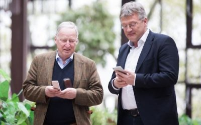 AfD party executive members Alexander Gauland (L) and Joerg Meuthen outside the Maritim Hotel in Cologne on April 21, 2017. (AFP Photo/dpa/Rolf Vennenbernd)